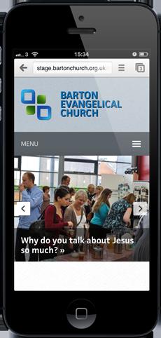 Barton Evangelical Church website as seen on an iPhone